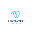 dental pixel tech logo icon vector image vector image