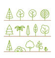 Different trees collection isolated on white vector image
