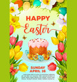 easter cake and egg cartoon poster template vector image vector image