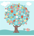 Fantastic Tree And Birds vector image vector image