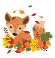 fox is sitting in the fallen leaves a cartoon
