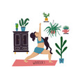 girl doing warrior i yoga pose with cat vector image vector image