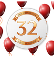 Golden number thirty two years anniversary vector image vector image