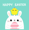 happy easter bunny holding striped painting egg vector image vector image