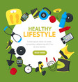 healthy lifestyle tools round design template vector image vector image