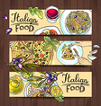 horizontal banners italian food - pizza pasta vector image