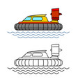 Hovercraft boat side view hover