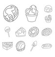 isolated object of sweet and product symbol set vector image