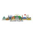 japan outline skyline japanese flat thin line vector image vector image
