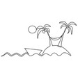 lonely island one line drawing vector image vector image