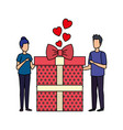 lovers couple with hearts floating and gift vector image vector image