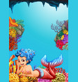 mermaid swimming under the ocean vector image vector image