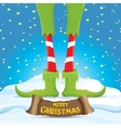 merry christmas card with cartoon elfs vector image vector image