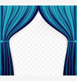 naturalistic image of curtain open curtains blue vector image vector image