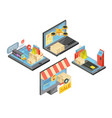 online shopping isometric compositions vector image vector image