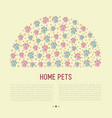 pet paws concept in half circle vector image vector image