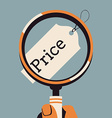 Price Tag Under a Magnifying Class vector image vector image