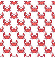 red crab on white pattern background cute sea vector image