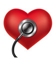 red heart with stethoscope vector image vector image