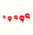 red round labels with percents on white vector image vector image