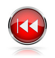 red round media button rewind button shiny icon vector image vector image