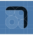 Round engineering font Symbol 7 vector image vector image