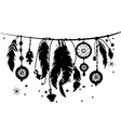 seamless border with silhouettes of feathers vector image vector image