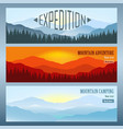 set 3 landscapes with mountains banners travel vector image