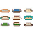 set of bright colors nine bed collection with vector image