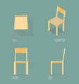 set wooden chair isometric drawing vector image