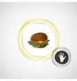 Sketch juicy and tasty burger icon vector image