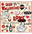 valentine doodles set vector image vector image