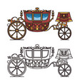 vintage carriage contour chariot outline for king vector image vector image