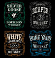 Whiskey label t-shirt graphic set vector image vector image