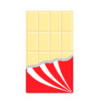 white chocolate bar icon opened red wrapping vector image vector image