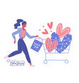 woman with hearts in supermarket shopping cart vector image vector image