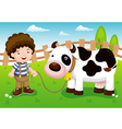 Young cattle and cow in farm vector image vector image