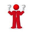 Business man person with a question mark vector image