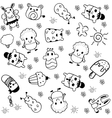 Cute doll doodle vector image