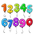 Number shaped bright and glossy colorful balloons vector image