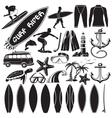set of surfing design elements - surfers vector image