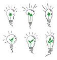 a set light bulbs with a tree sprout vector image vector image