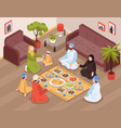 arab family meal vector image vector image