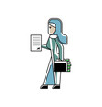 arabic woman with contract and suitcase vector image vector image