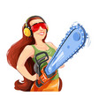 beautiful girl with chain saw vector image vector image