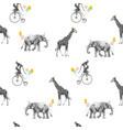 beautiful seamless pattern with safari vector image