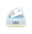 box with file documents icon vector image