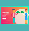 businessmen stand and hold in their hands money vector image