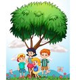 Children standing under the tree vector image vector image