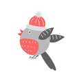 closeup of bullfinch with hat vector image